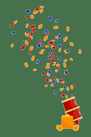 Confetti cannon flipped