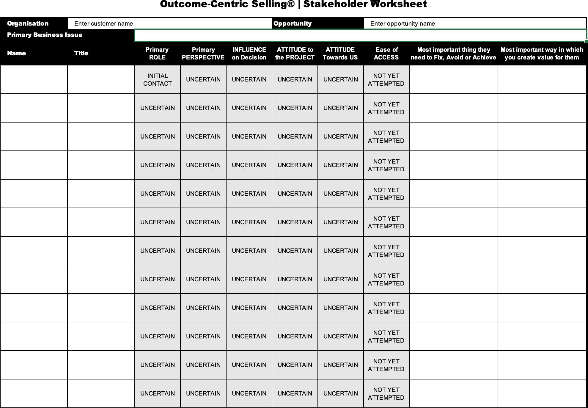 Stakeholder Worksheet